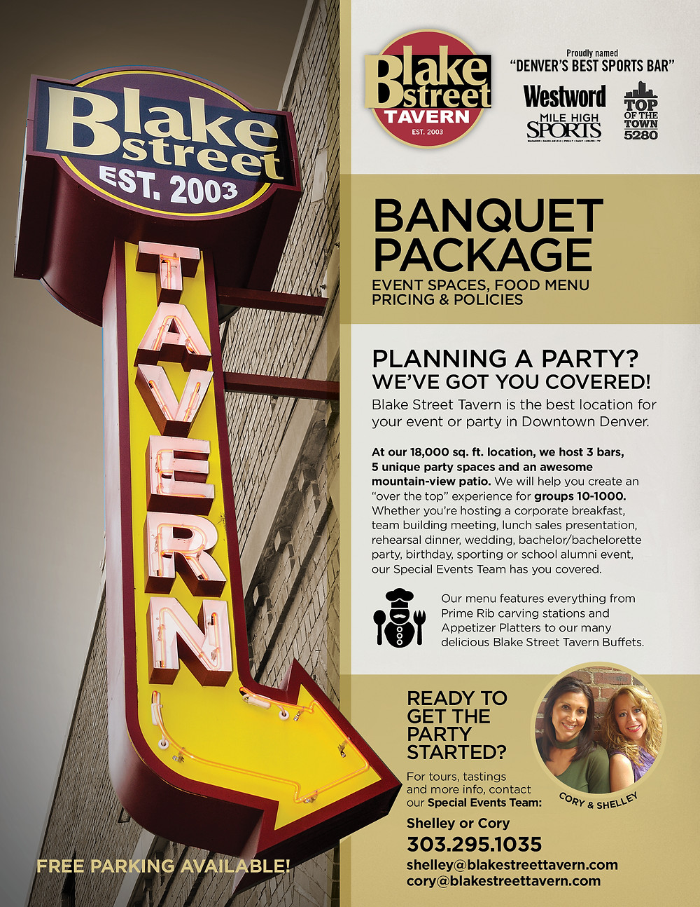 Free Meeting Space for Nonprofits in Denver - Blake Street Tavern has a great Banquet Menu
