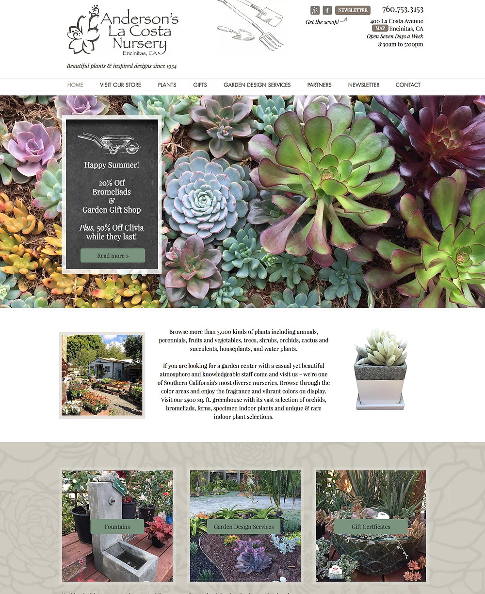 Best Wix Website designed for a Garden Nursery Store in California