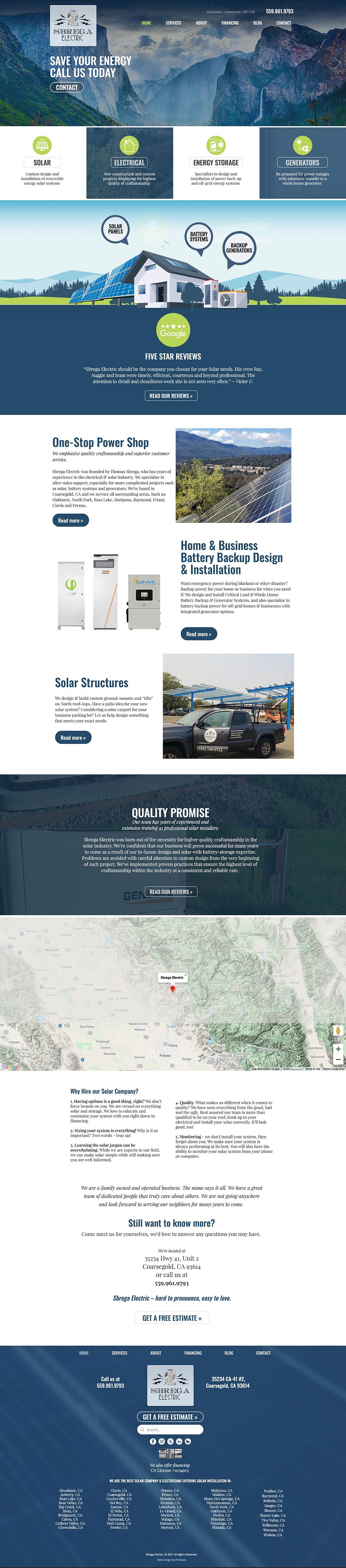 Solar Company Web Designer - Website Design for Sbrega Electric in California - Homepage Screenshot