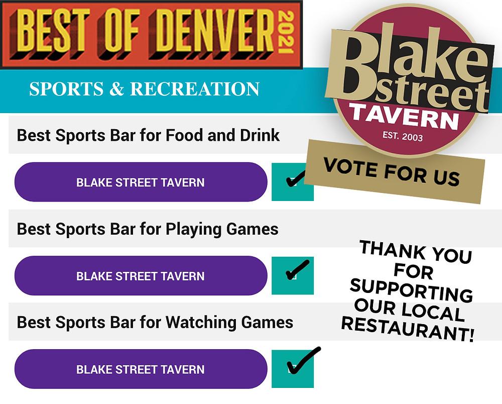 VOTE FOR BLAKE STREET TAVERN FOR DENVER'S BEST SPORTS BAR!