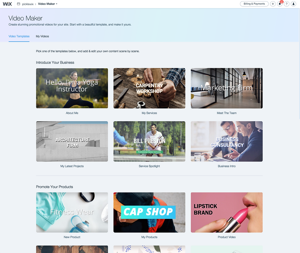 Wix Designer Video Maker - templates