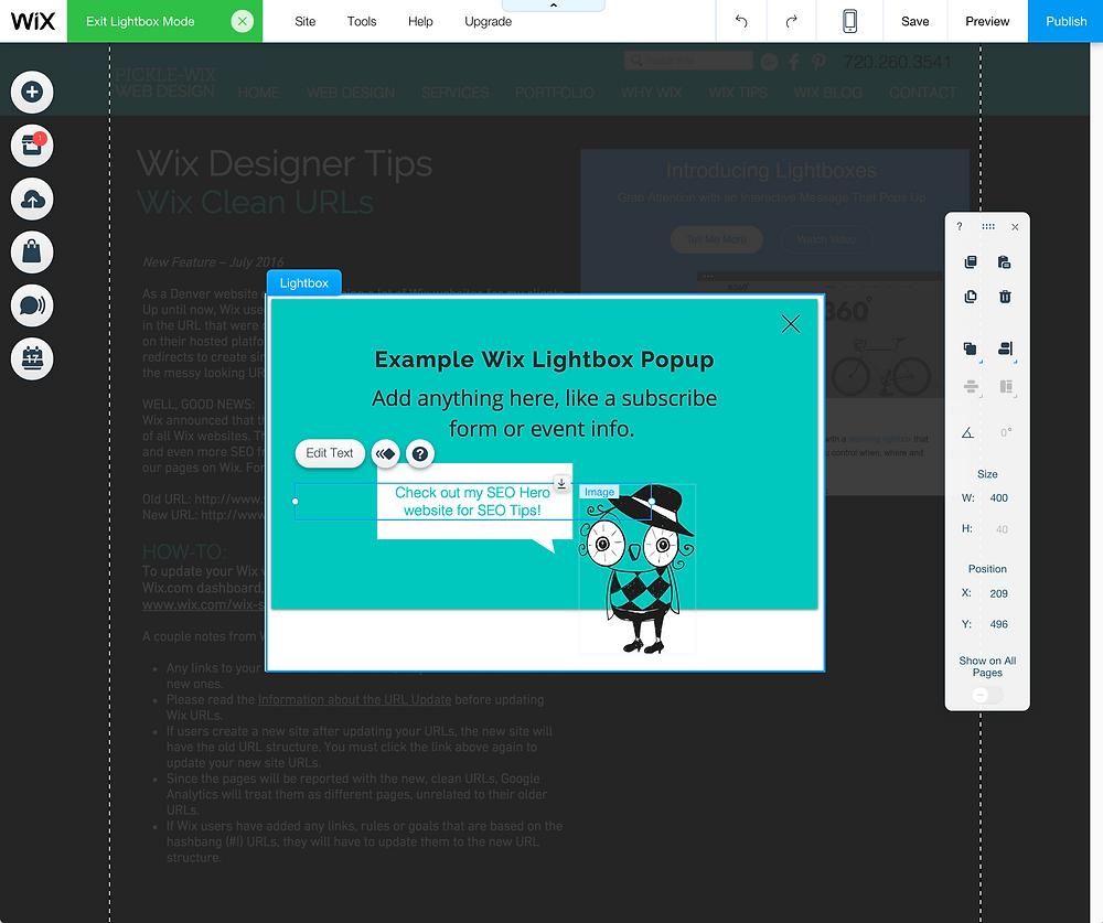 Wix Web Designer - Popups