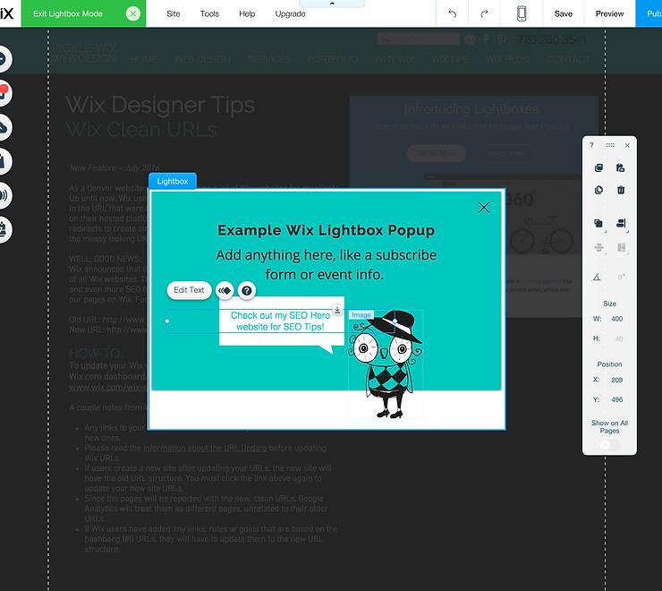Wix Web Designer Tip – Popups in Wix