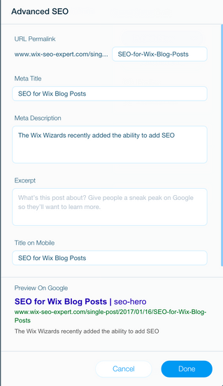 SEO for Wix Blog Posts
