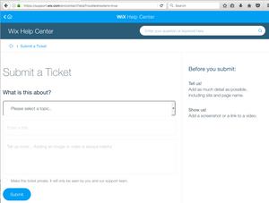 Submit a Wix Ticket