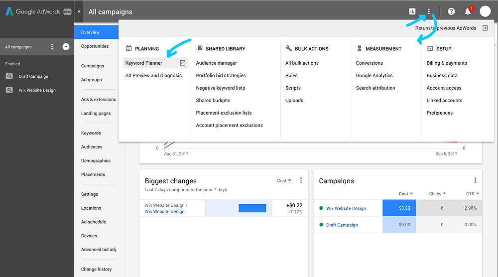 Where to find Keyword Planner tool in Google AdWords