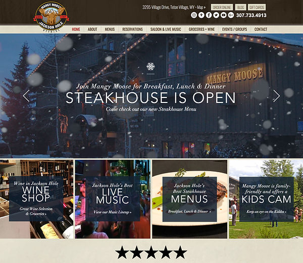 Restaurant Website Designer for Mangy Moose in Jackson Hole, Wyoming