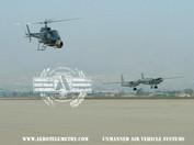 Helicopter fliming Aero Telemetry XF-11 at San Bernardino airport.