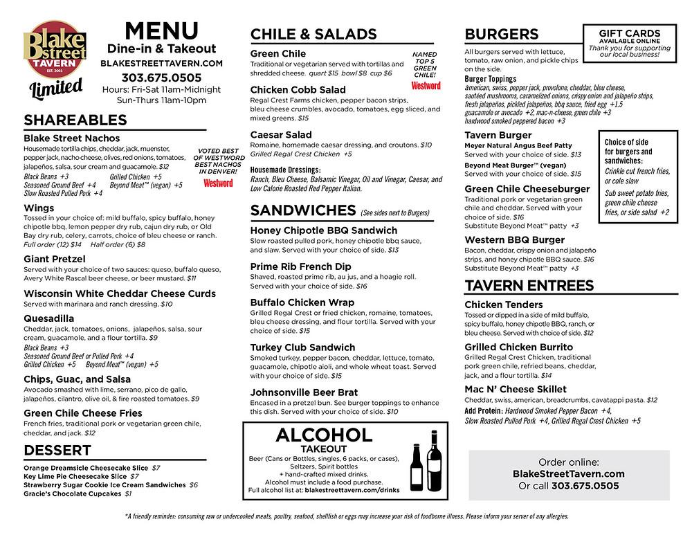 Best Delivery Denver - Blake Street Tavern Menu