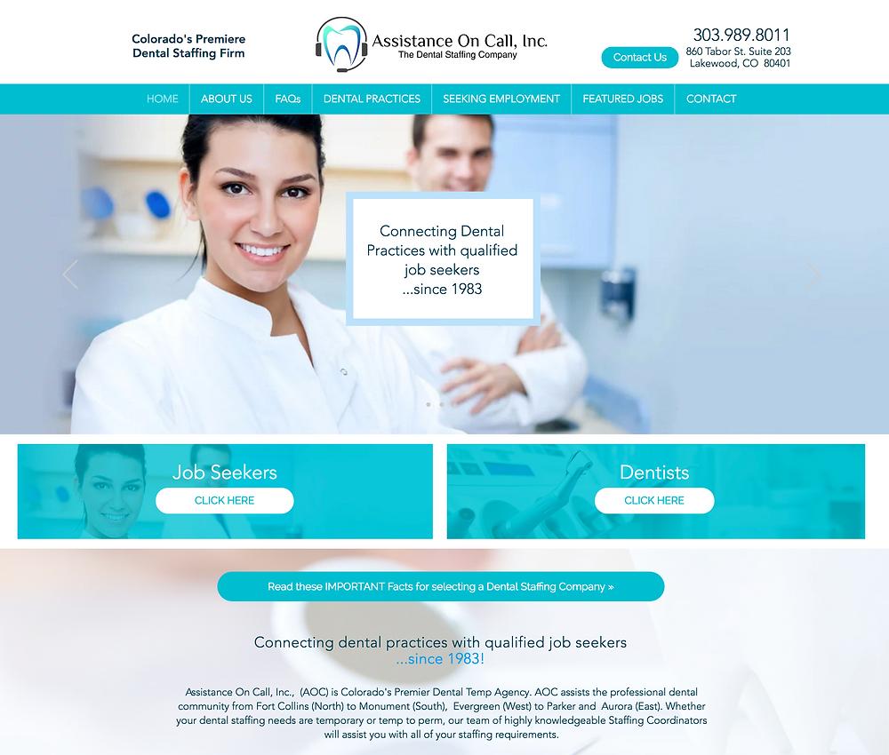 Wix Website Design for Dental Staffing Agency in Denver, Colorado