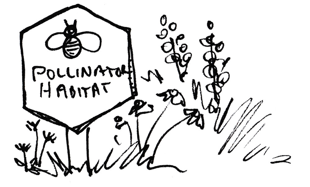 Garden Illustration of Pollinator Habitat Sign