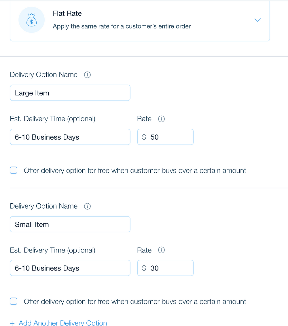 Wix Stores Shipping Options - Flat Rates