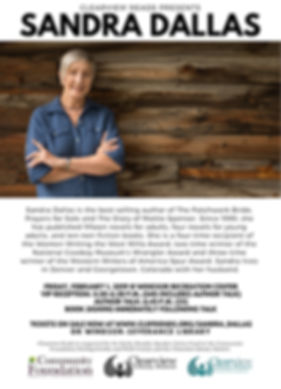 Join Sandra Dallas on Friday, February 1, 2019 for an Author Talk at 6:45pm at the Windsor Recreation Center in Colorado