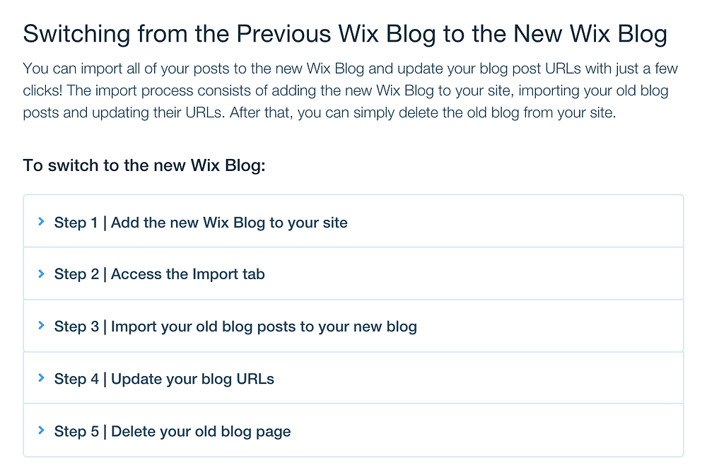 switching to the new Wix blog: