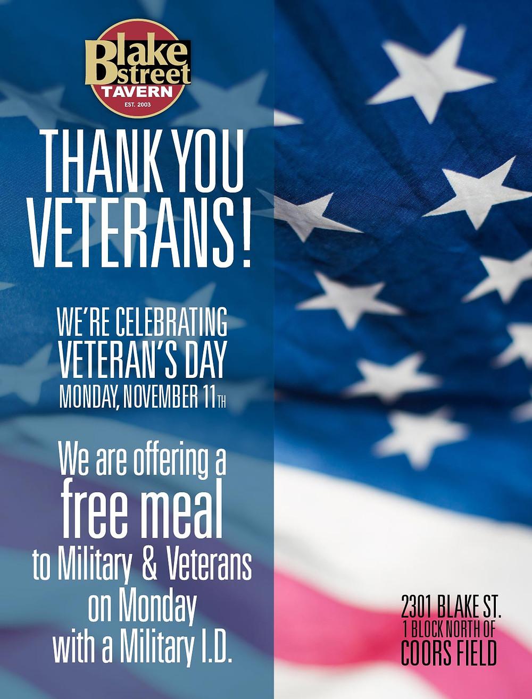 Veteran's Day - Free Meal at Blake Street Tavern in Denver