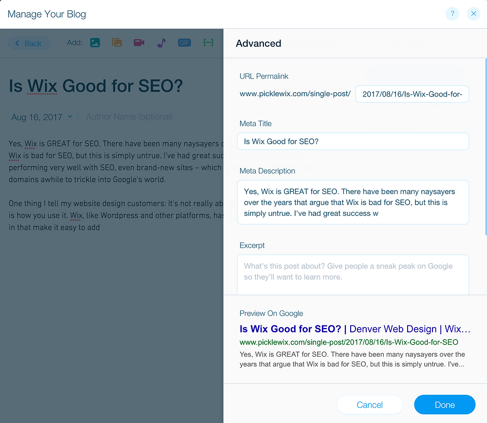Example of Wix's SEO settings for a blog post