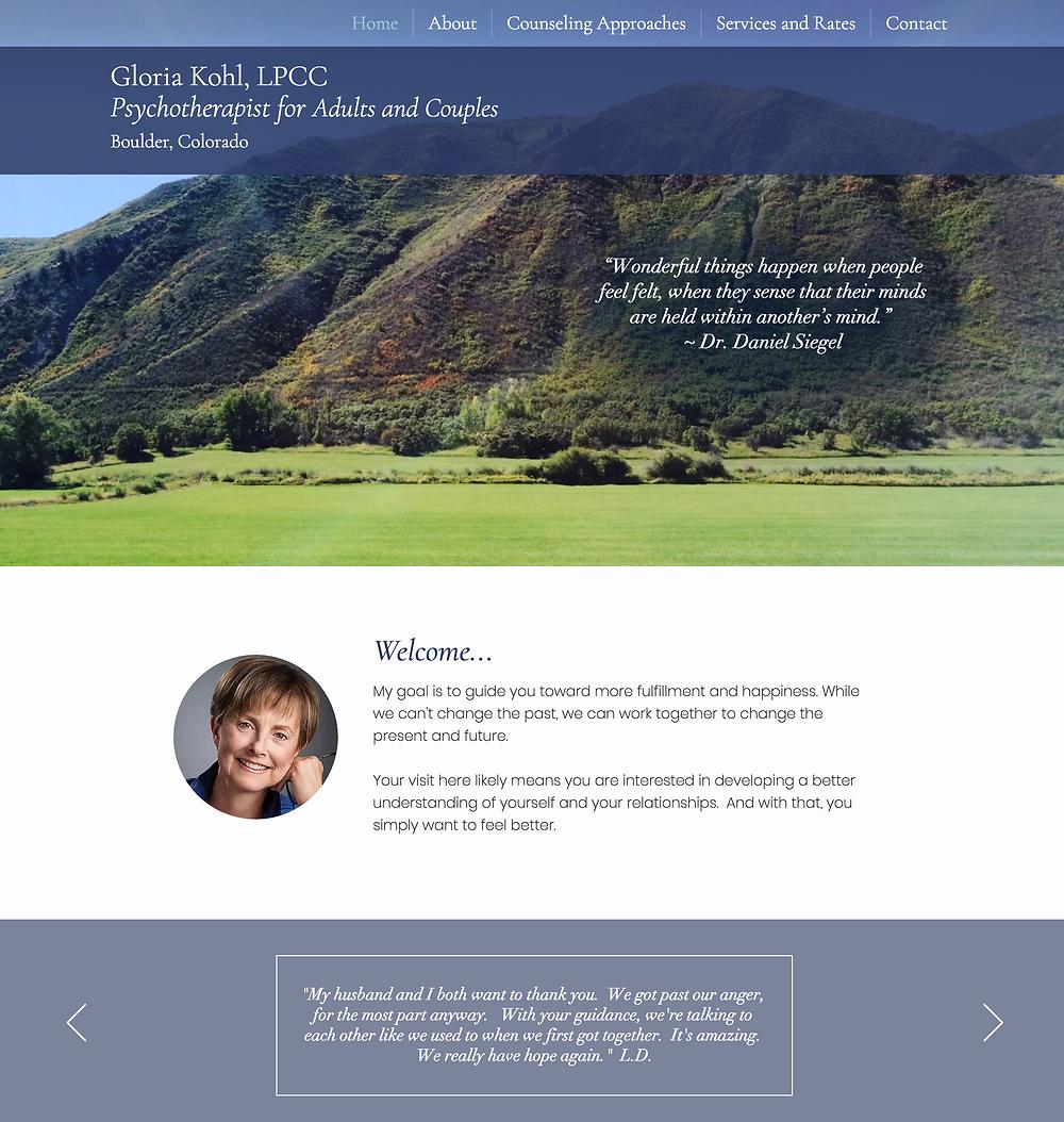 Denver Website Design for Boulder Therapist