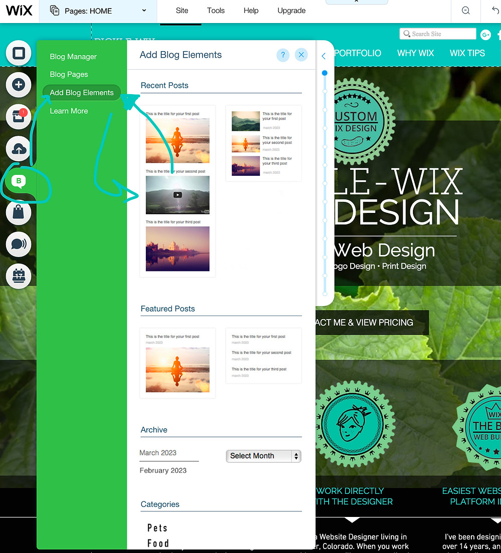 Wix Web Designer Tip - adding blog for SEO