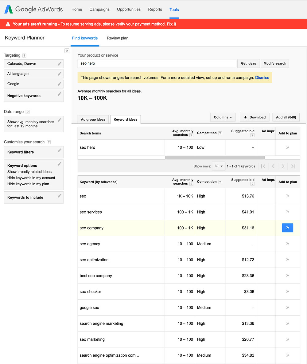 SEO Hero - Google's Keyword Planner Tool example