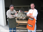 Joe and Darrel in front of the WWI Gotha Bomber model for The Aviator visual effects sequence of Hells Angels dog fights