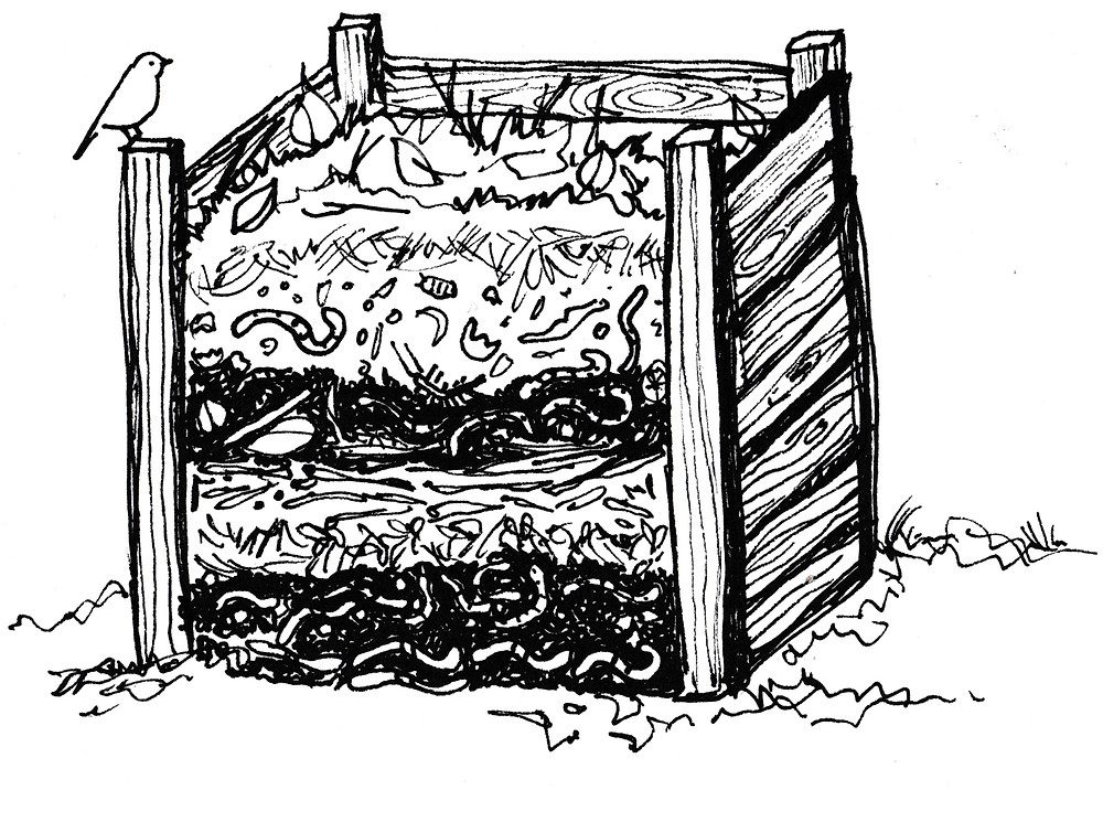 Garden Illustration of Compost Bin