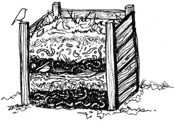 Compost Bin Illustration with Layers