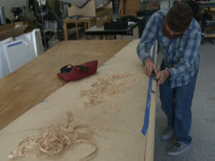 Jeff shaping the leading edge of the wing.