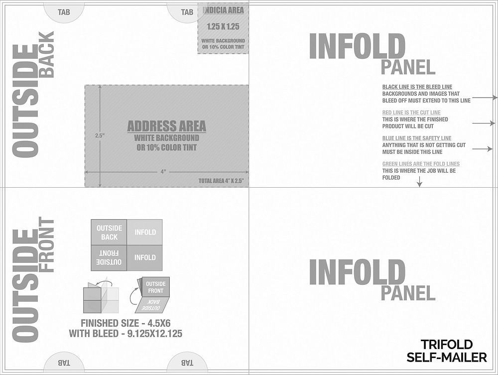Tri-fold Self-Mailer with Mailing Panel for Graphic Designers