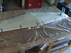 Horizontal stabilizer and elevator almost complete. Sheeted and in the vacuum bag to dry.