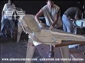 Ian applies first fiberglass layer of the Aero Telemetry XF-11 fuselage