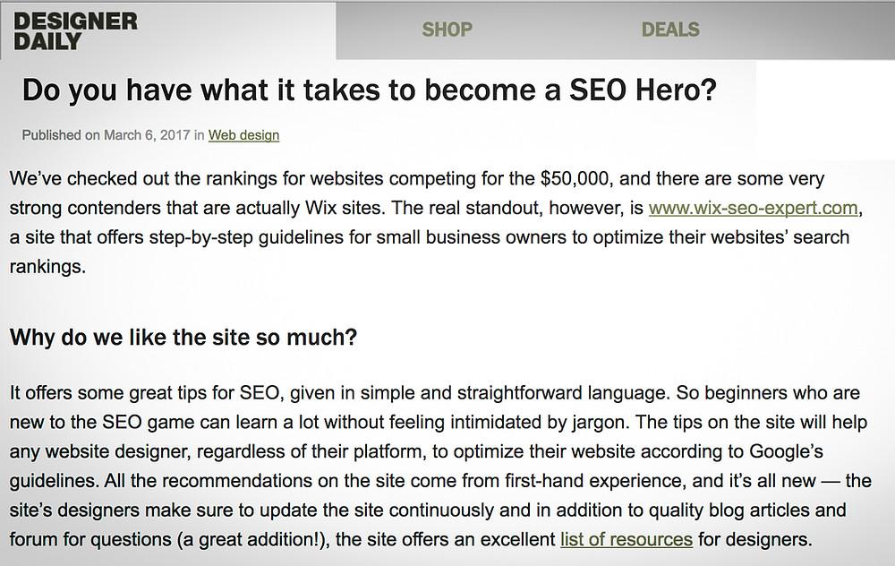 SEO Hero Article on Designer Daily