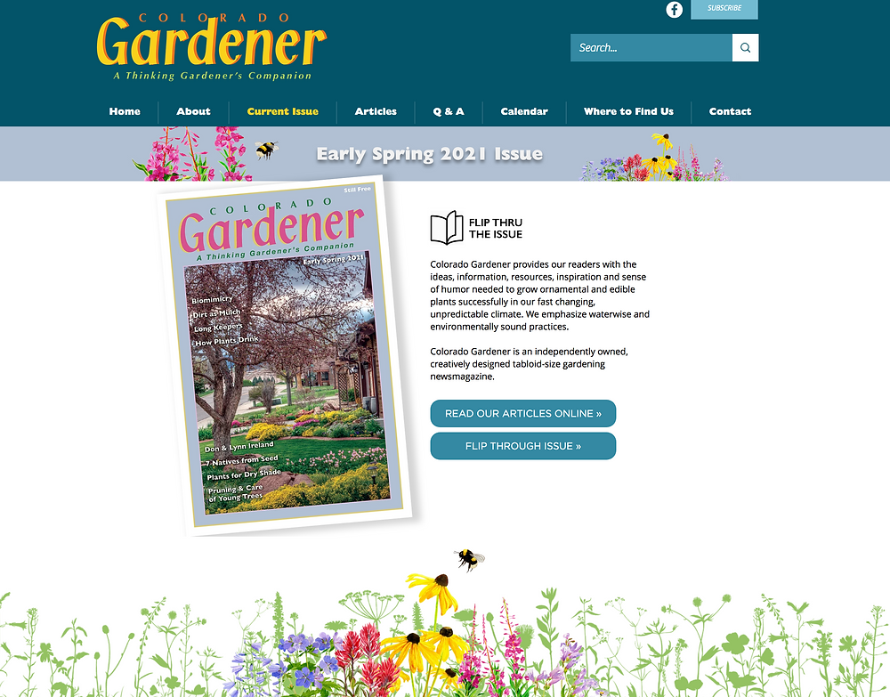 Gardening Magazine Website Designer for Colorado Gardener newsmagazine