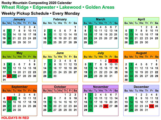 Curbside Composting Wheat-Ridge Edgewater Weekly Schedule