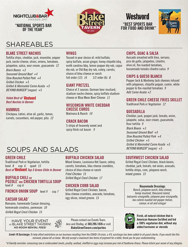 Denver Sports Bar Menu Appetizers, Soups