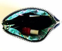 Handmde Makeup Bag - fun fabric lined interior