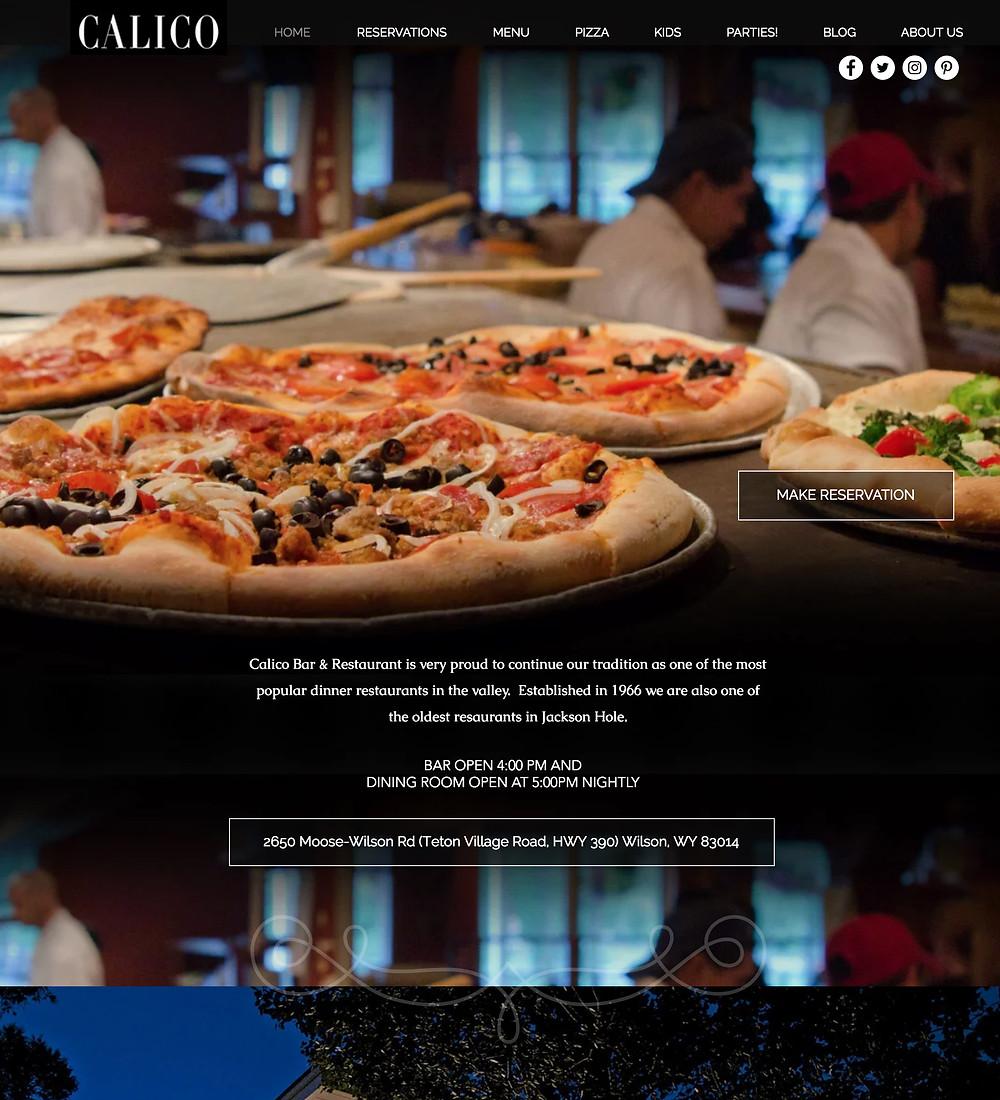 Restaurant Website Design Company for Wyoming Restaurant, Calico