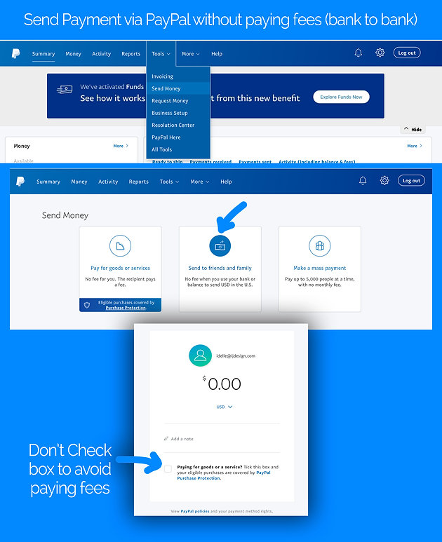 Send Payment via PayPal without paying fees (bank to bank)