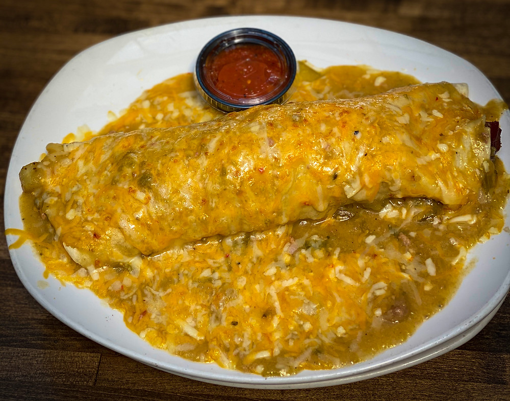 Best Brunch in Denver is at Blake Street Tavern - Smothered burritos with the best green chile in town!