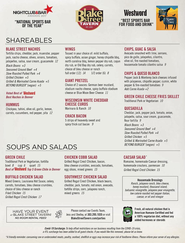 Free Food Delivery Denver - Blake Street Tavern Menu