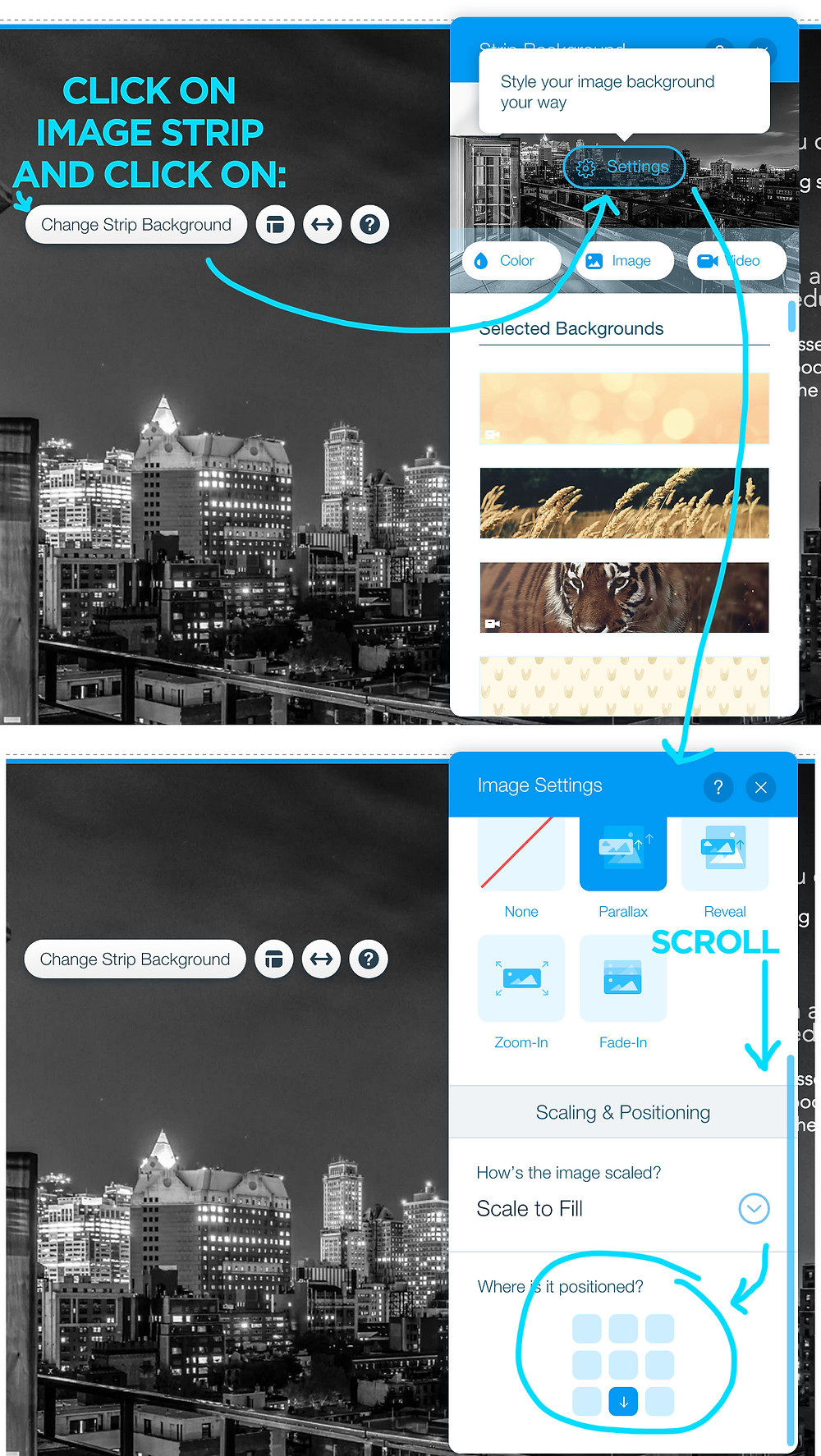 Adjusting image crop positioning in Wix