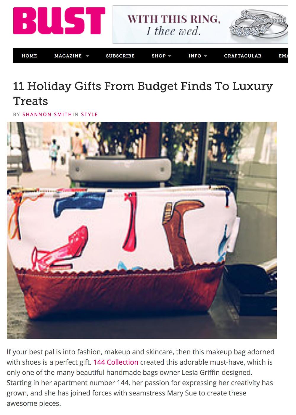 Handmade Makeup Bag - featured in Bust.com