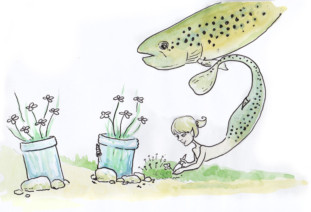 Green Trout Mermaid Illustration by Idelle Fisher