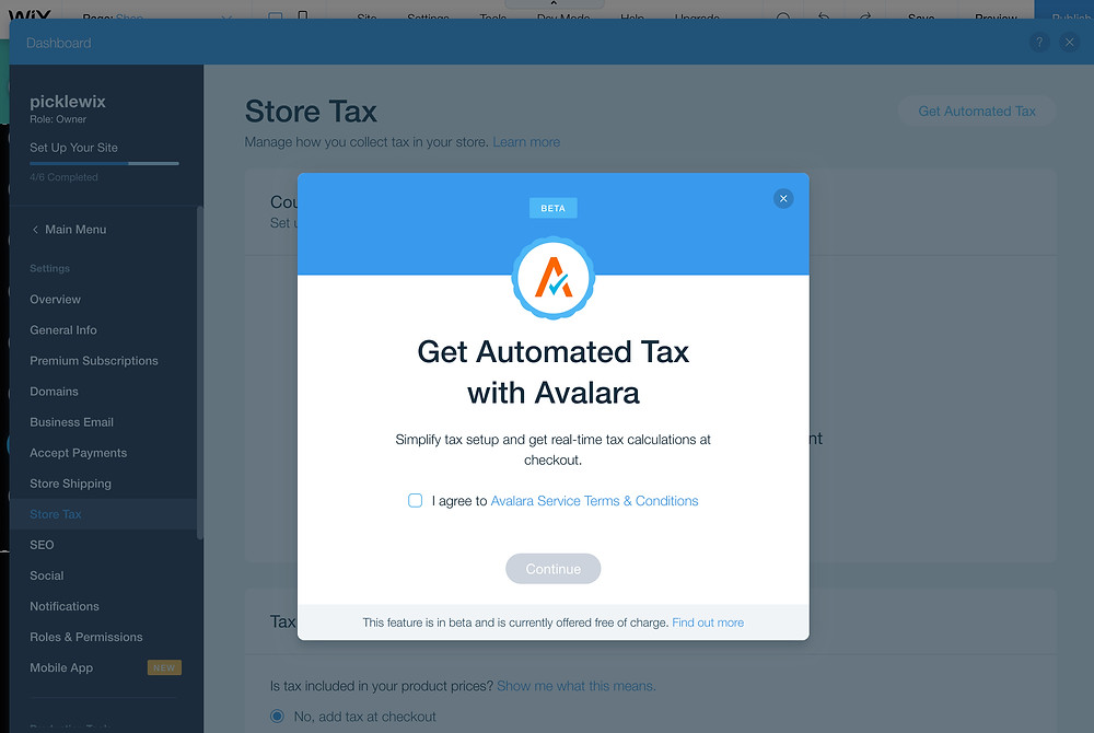 Wix Stores and Avalara for Taxes