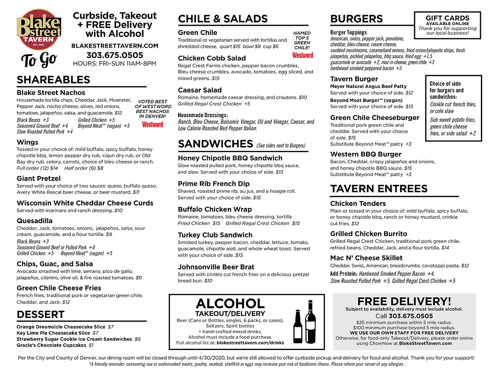 Dinner + A Movie from Denver Film - order Blake Street Tavern's delivery food for free delivery and to have Dinner and a movie!  Here's our full delivery menu for Denver.