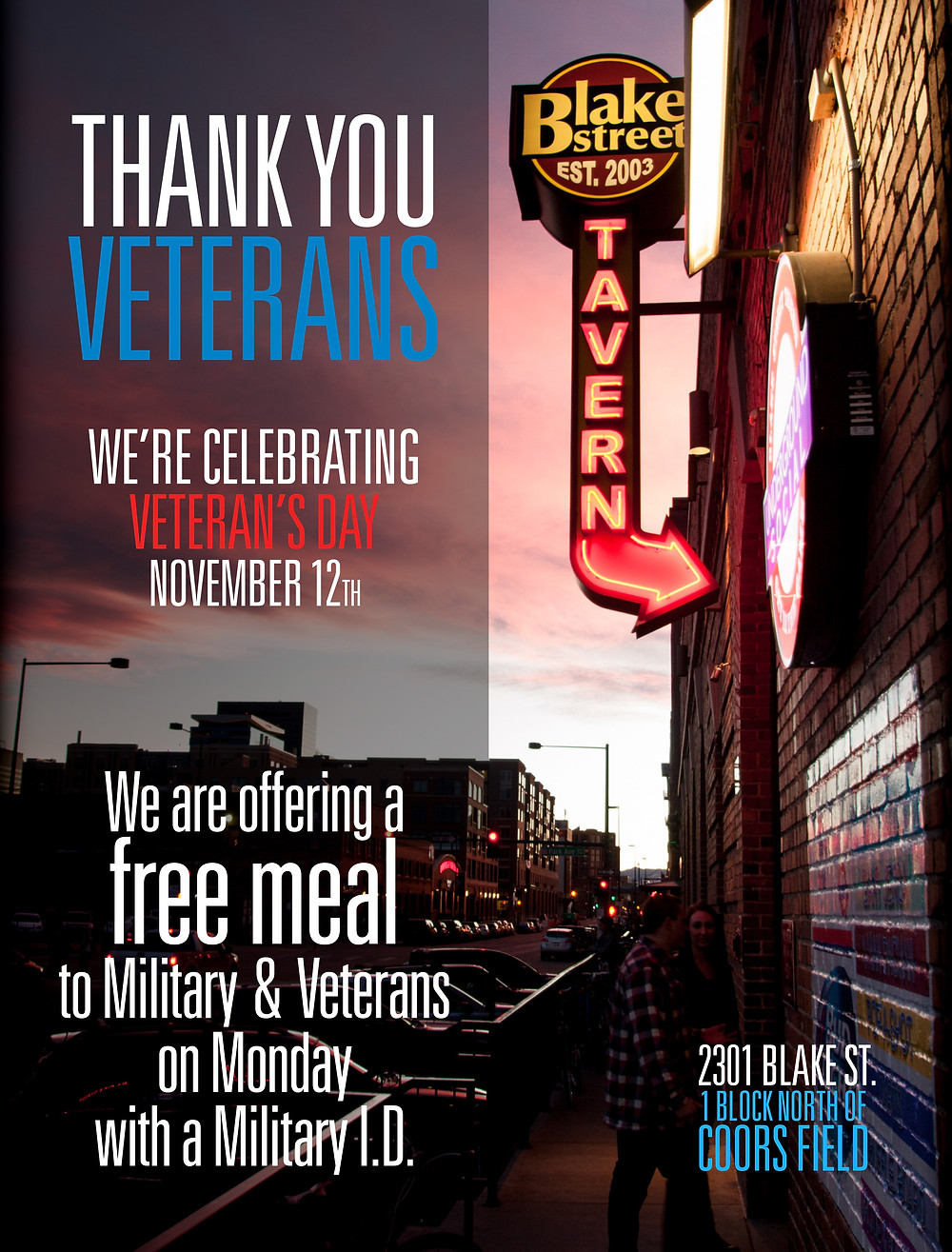 Free Meal for Military and Veterans in Denver