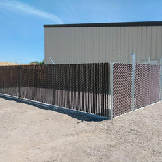 Chain Link fence with Standard Privacy Slats