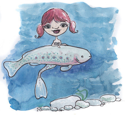 The Trout Mermaids Book Illustration
