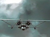 Digital frame from the visual effects sequence of Howard Hughes flying the Sikorsky S-38