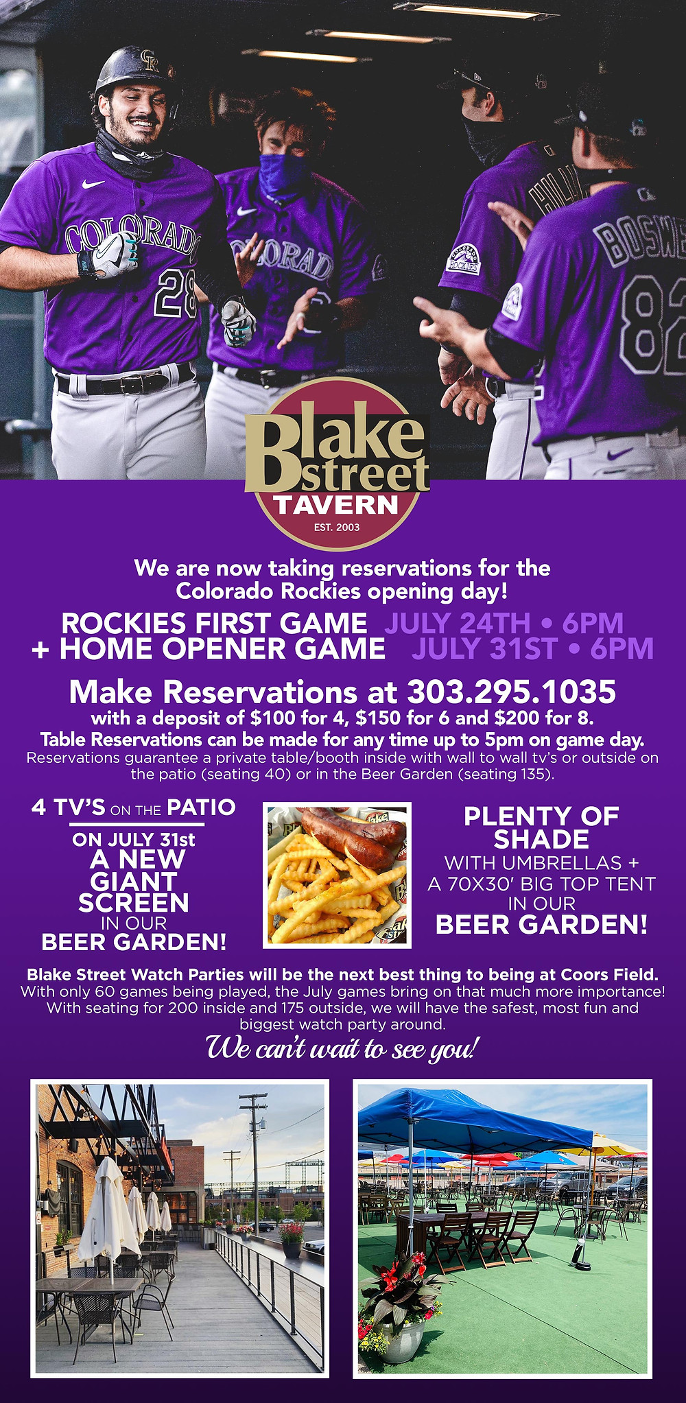 Watch the Rockies Games at Blake Street Tavern in downtown Denver and RiNo neighborhoods, just one block north of Coors Field!