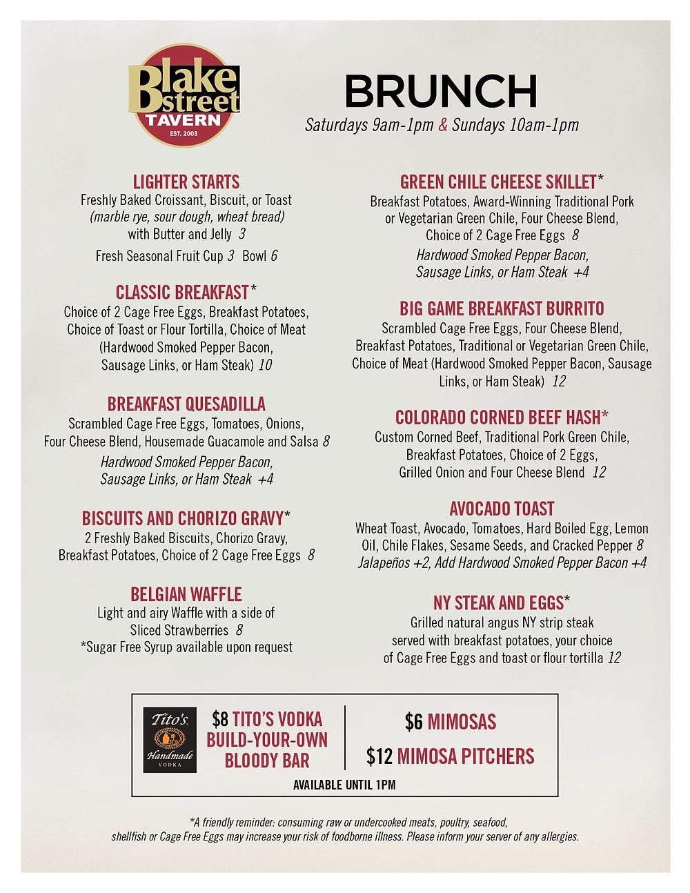 Best Breakfast in Downtown Denver - Blake Street Tavern Breakfast Menu